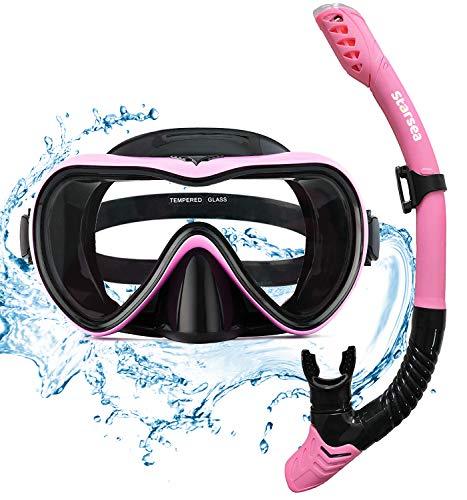 STARSEA Schnorchelset Kinder / Erwachsene - mit Taucherbrille und Schnorchel-Die Taucherbrille besteht aus hochfestem Glas,Antibeschlag und Leckage(Rosa)