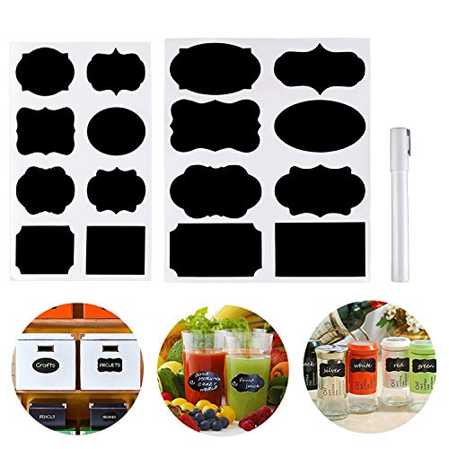 Etiquetas de pizarra, 96 unidades, impermeables, reutilizables, pegatinas de pizarra con 1 rotulador de tiza blanca