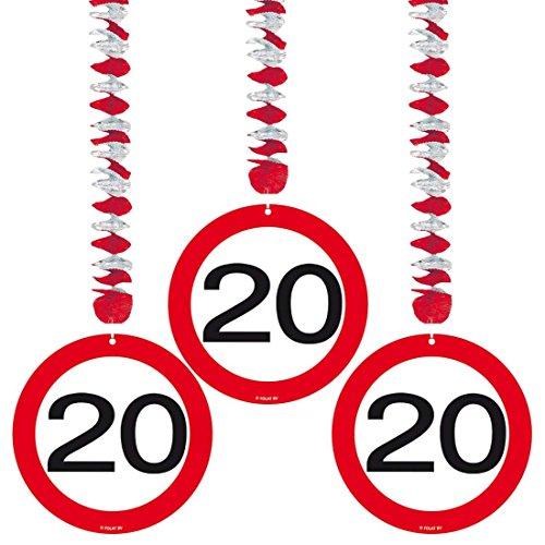 Amakando Geburtstagsspirale 20er Geburtstag Dekospiralen Verkehrsschilder Rotor Spiralen Geburtstagsparty Deko Spirale Rotorspirale Spiralhänger Jubiläum