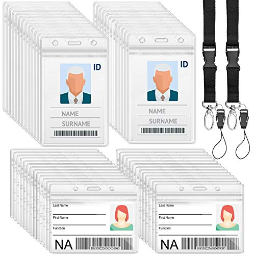 50 Pieces ID Badge Holder and 2 Pieces Black Lanyards Badge Neck Strap with Detachable Buckle, Clear Waterproof ID Card Holder Horizontal Vertical Name Tag Card Holders