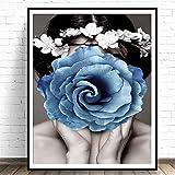 adgkitb canvas Moderne wohnkultur floral Frau leinwand malerei Mode wandkunst Bild blumendekoration Wohnzimmer und drucken 60x90 cm KEIN Rahmen