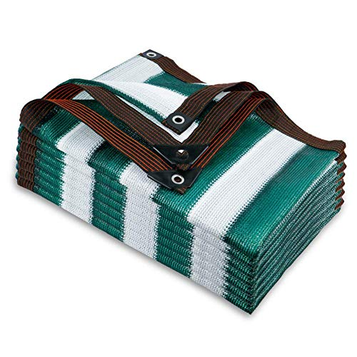 KEOA Respirant Filet D'ombrage Rayures Vertes épais Filet Protection Solaire épais Bord Scellé Toile d'ombrage avec œillets pour Couvert végétal, Serre-12x24ft-4x8m Grüne