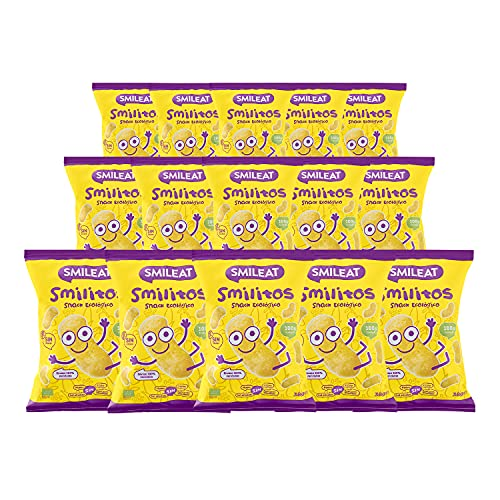 Smileat - Bolsas de Smilitos, Snack Ecológico de Maíz para Meriendas de Bebés a Partir de los 6...