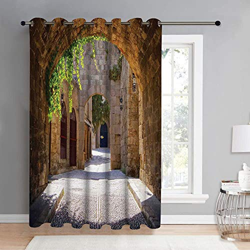 REIOIYE Cortinas opacas, antigua calle italiana en una pequena ciudad provincial de la Toscana Italia, europea, sala de estar, dormitorio, cortina, vida del hogar, decoracion