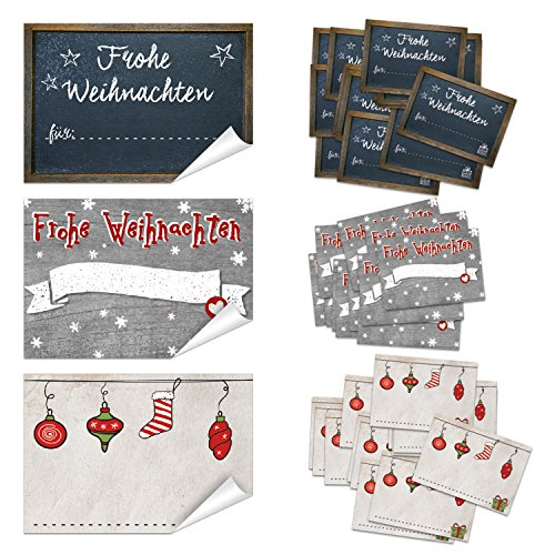 SET 3 x 50 Stück Weihnachten Geschenkaufkleber Namensaufkleber Aufkleber Namen Namensetiketten Verpackung Weihnachtsgeschenke Geschenke Kunden give-away Sticker rot grau schwarz weiß