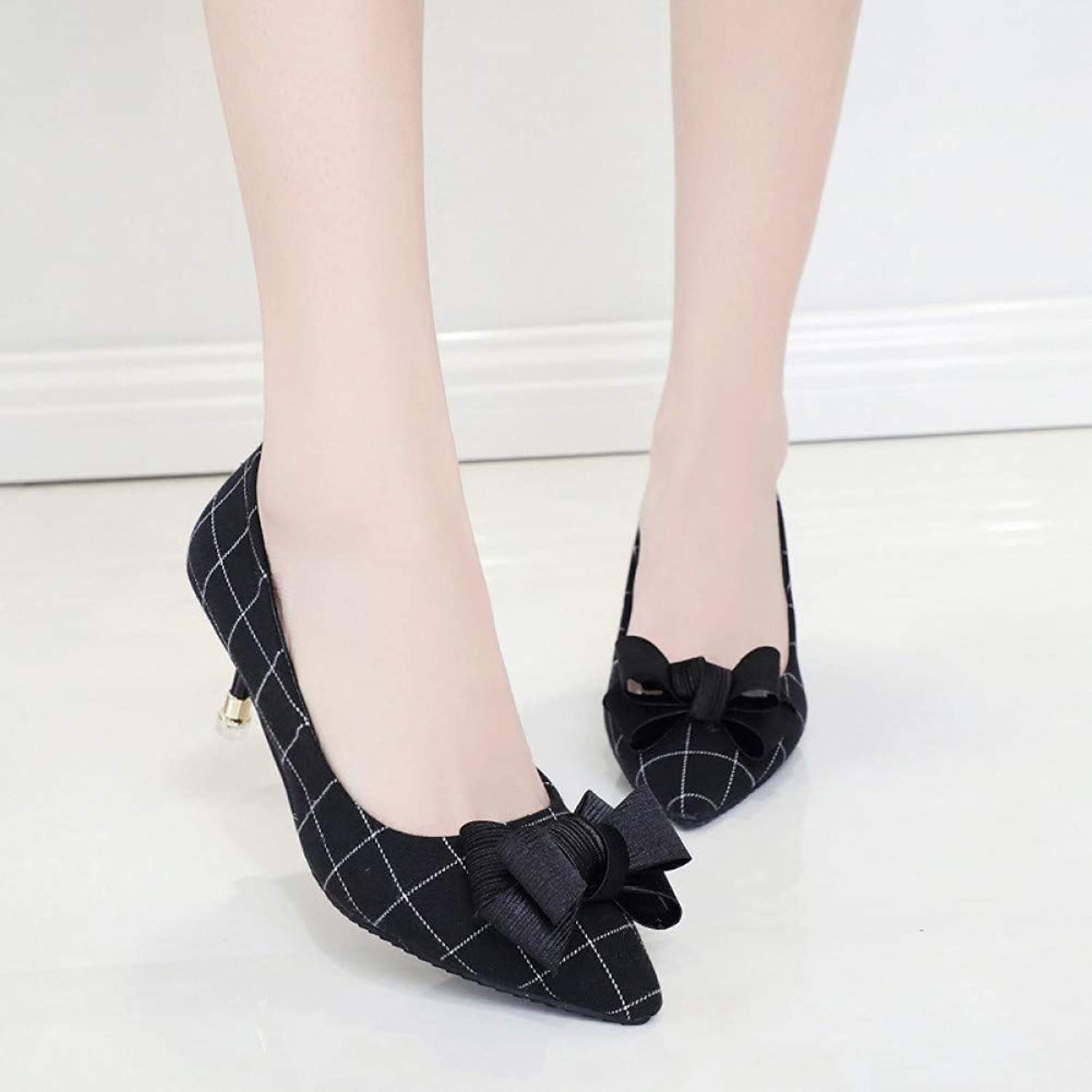 UKJSNHH igh Heels Hot Women Pumps Fashion Knot High Heels Single shoes Female Spring Summer Plaid Leather Wedding Party shoes Woman