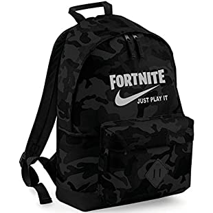 NEW Embroidered Fortnite Just play it parody gaming rucksack backpack PS4 XBOX (midnightcamo/light grey emb)