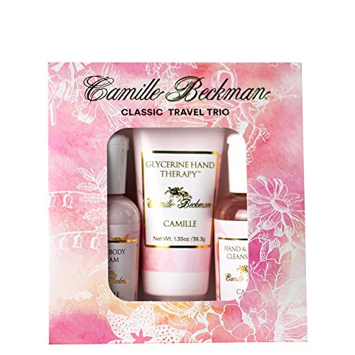 Camille Beckman Classic Collection Travel Trios, Camille, Glycerine Hand Therapy 1.35 oz, Silky Body Cream 2 oz, Hand & Shower Cleansing Gel 2 oz