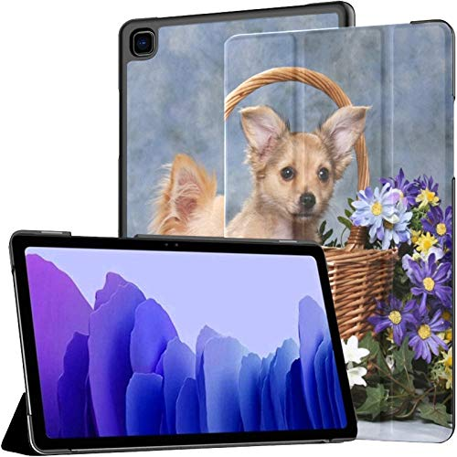 Funda para Samsung A7 2020 Dos adorables Perritos Cesta Flores para Samsung Galaxy Tab A7 10.4 Pulgadas 2020 Compatible con Galaxy A7 Funda Funda Tablet Funda de Cuero PU