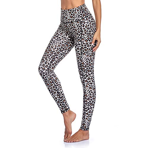 Occffy Leggings Donna Fitness Opaco Vita Alta Allenamento Palestra Push Up Sportivi Yoga Leggins Pantaloni P107 (Leopardo, M)