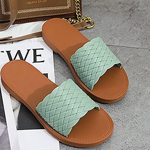 ZZLHHD Casual Alpargatas de Cuña Moda ,Zapatos de Playa de Moda Simples, Zapatillas frías cómodas Planas-Green_36,Punta Abierta Cuero Fondo Plano Hebilla Sandalias
