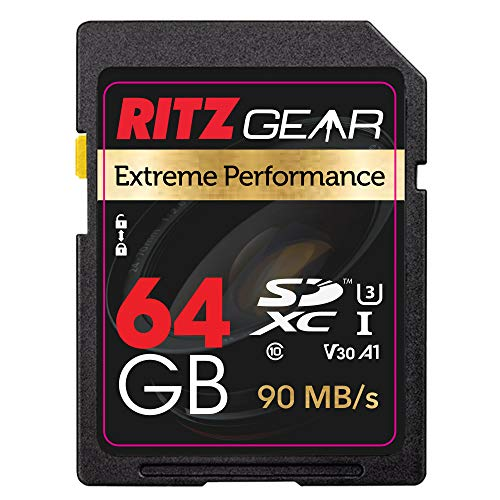 Ritz SD Card SDXC UHS-I 64 GB Extreme Performance High Speed 90/30 MB/S U3 A1 Class-10 V30 Speicherkarte für Kameras und SD-Geräte zur Aufnahme von Full-HD-, 3D- und 4K-Video und Fotos in Raw