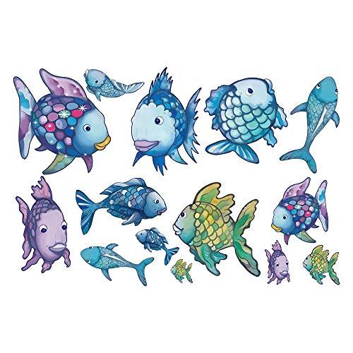 decalmile Arcoiris Pez Pegatinas Pared Oceano Desmontable Adhesivos Pared Decorativos para Baño Niños Infantiles Habitación
