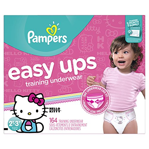 Pampers Easy Ups Training Pants Pull On Disposable Diapers for Girls Size 4 (2T-3T), ONE MONTH SUPPLY, 164 Count