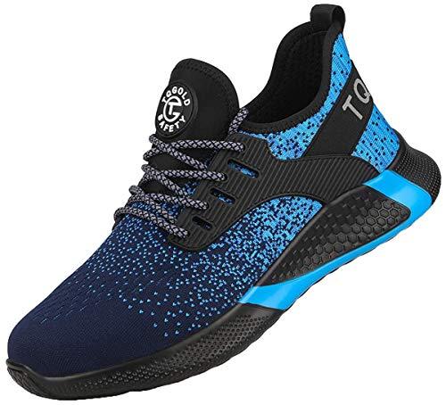 tqgold® Sicherheitsschuhe Herren Damen Arbeitsschuhe S3 mit Stahlkappe Sneaker Leicht Atmungsaktive Schutzschuhe Sportlich Sneaker(Blue, 45)