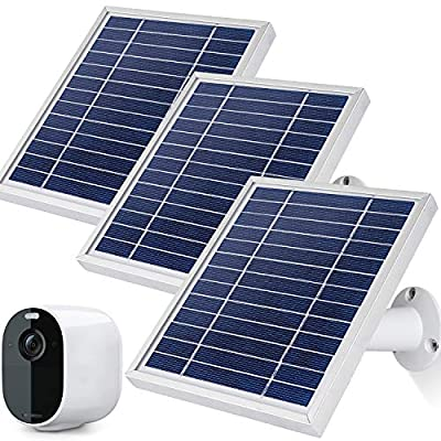 iTODOS Solar Panel Works for Arlo Essential Spotlight Camera, 11.8Ft Outdoor Power Charging Cable and Adjustable Mount- (3 Pack,Silver)