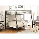 Metal Full Over Queen Bunk Bed for Kids Adults, Heavy Duty Bunk Bed Frame with Safety Guard Rails for Bedroom Dorm, Space Saving Design, No Box Spring Required (Black)
