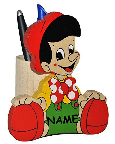 Stiftebox / Stiftehalter / Stifteköcher - Kleiner Junge - Pinocchio - aus Holz incl. Namen - Butler für den Schreibtisch - Stifte Stift Holz - Utensilienbehäl..