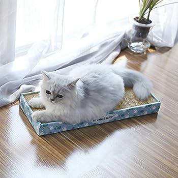 VIVAGLORY Carton à Gratter pour Chat, Griffoirs pour Chats, Chat Planche Carton Ondulé Jouets à l'herbe à Chat avec Boîte, Étroit, 3 Pièces