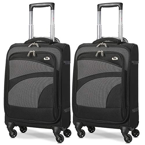 Aerolite 21' 55cm Ultra Lightweight 4 Wheel Spinner Carry On Cabin Hand Luggage Suitcase Travel Trolley Flight Bag Case (Black/Grey, Set of 2)