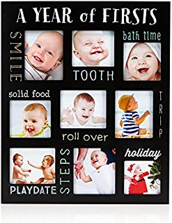 Pearhead Baby's Firsts Keepsake Picture Frame, Display Photos of Your Favorite Moments from Baby's First Tooth to Baby's First Trip, Black
