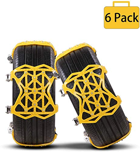 Yuanj Catene da Neve, Catene Antiscivolo per Automobile SUV Universale Trazione per Pneumatico Grandezza 165mm-275mm - 6 Pack