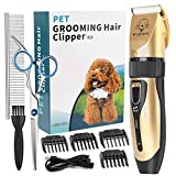YIDON Dog Clippers, Dog Grooming kit Cordless Adjustable Pet Clippers Dog Hair Trimmer Rechargeable Dog Shears Pet Grooming Professional Hair Clipper Low Noise for Small Large Dogs,Cats,All Pets