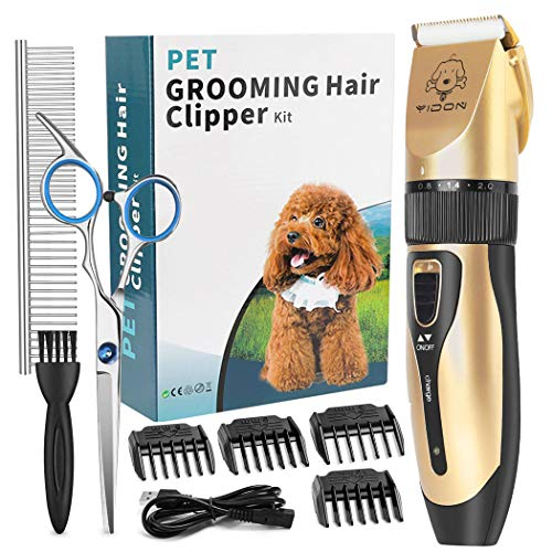 YIDON Dog Clippers, Dog Grooming kit Cordless Adjustable Pet Clippers Dog Hair Trimmer Rechargeable Dog Shears Pet Grooming Professional Hair...