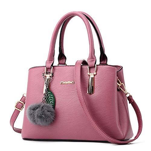 GZSM Backpack Fashion Ladies Portable Messenger Bag Shoulder Bag Big Bag Color Bright and Graceful Luxury Classic Atmosphere Retro Wind Black,Rubber Powder