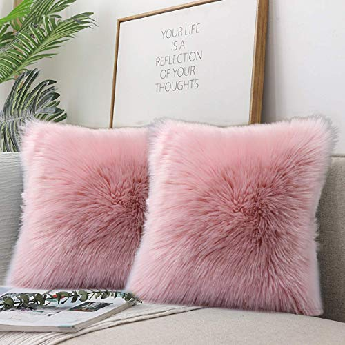 QUANHAOFunda de cojín del sofá, Funda de Almohada de Piel Artificial de Lana Suave, Funda de cojín Funda de Almohada decoración de sofá 45 x 45 cm (Rosa * 2pcak)
