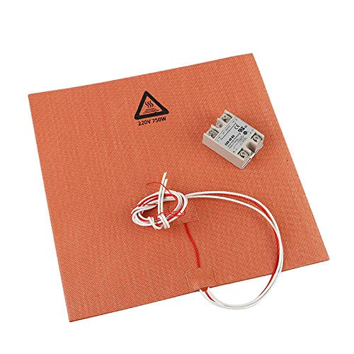 Printer Accessories 300 * 300mm 220V 750W Silicone Pad Heated Bed Heating Pad + SSR Solid State Relay Kit for 3D Printer