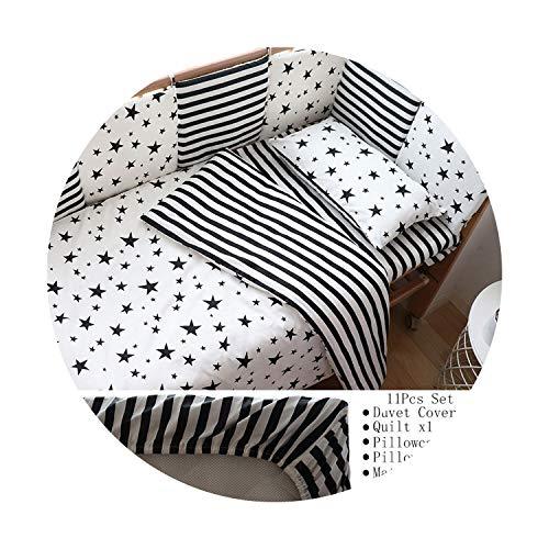 Suzanne Betty Parure de lit pour bébé nordique en coton avec tour de lit, motif étoile noire