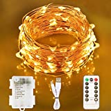 Aluan Fairy Lights 100 LED 33 FT Copper Wire Christmas Lights USB & Battery Powered Waterproof LED String Lights with 8 Modes for Indoor Outdoor Bedroom Wedding Party Patio Decor, Warm White