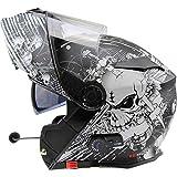 Viper RS-V171 BL+ 3.0 Bluetooth Flip-Up Motorcycle Helmet - Skull Black