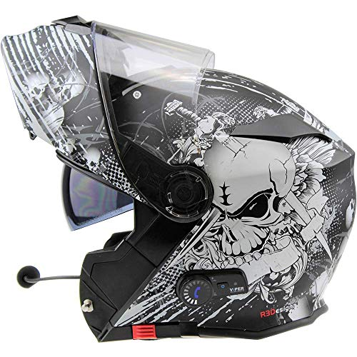 Viper RS-V171 BL+ 3.0 Bluetooth Flip-Up Motorcycle Helmet - Skull Bl