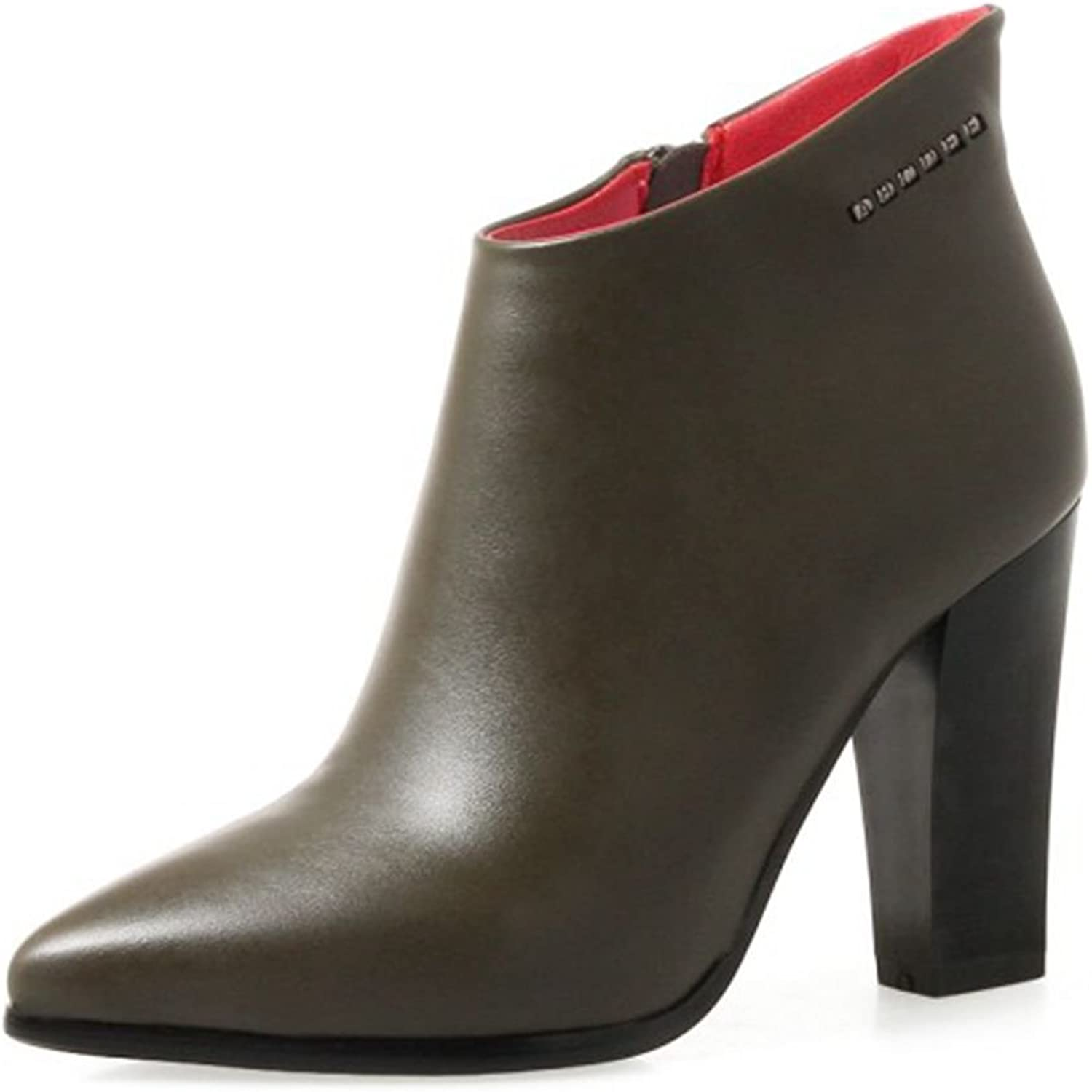 SaraIris Chunky Heels Pointed-Toe Ankle Boots for Women