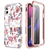 SURITCH for iPhone 11 Case with Built-in Screen Protector Front and Back 360 Degree Full Body Protection Cover Bumper Shockproof Non Slip Case for iPhone 11 6.1' Rose