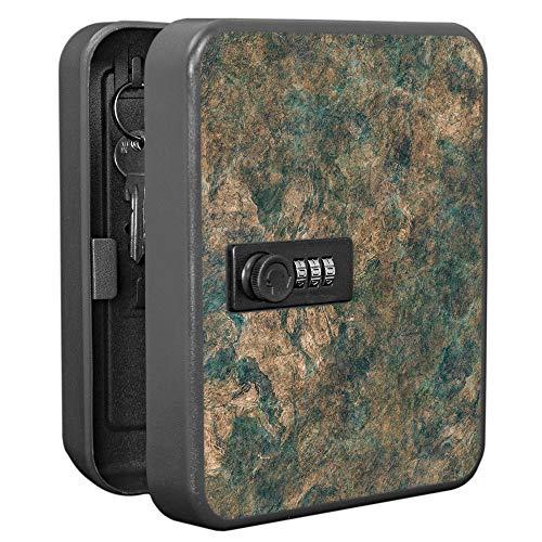 banjado Burg-Wächter abschließbarer Schlüsselkasten mit Motiv Kupfer Patina   Schlüsselbox mit Zahlenschloss   für 20 Schlüssel   Stahlblech schwarz 20x16x7,4cm groß