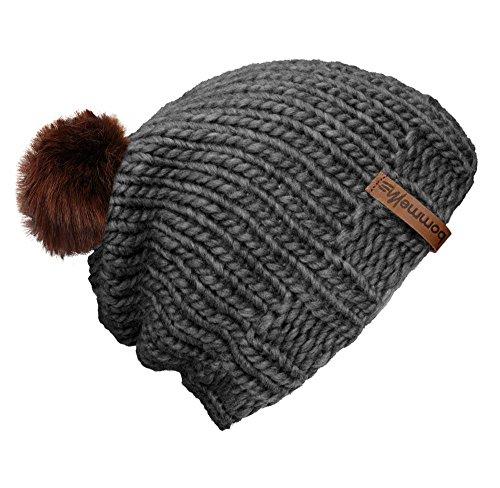 """BommelME """"Beanie Handmade Bonnet tricoté à la Main avec Pompon d'échange, Bonnet tricoté de Laine avec Pompom démontable, Taille Unique, Bonnet: Gris/"""
