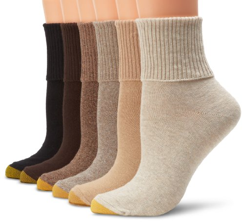 Gold Toe Women's Classic Turn Cuff Socks, 6 Pairs, Brown Black Mix, Shoe Size: 6-9