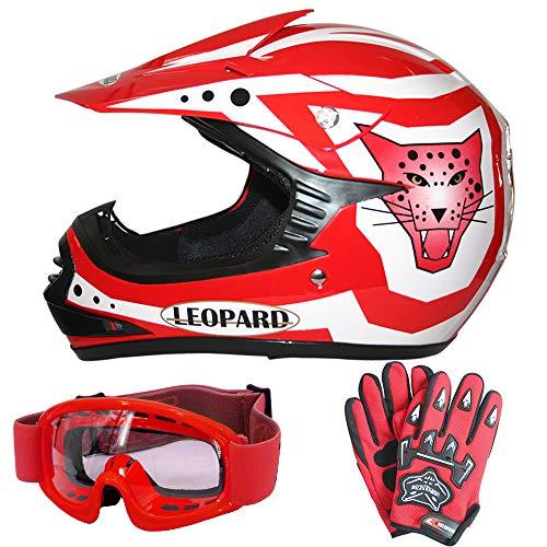 Leopard LEO-X17 Rot Kinder Motorrad Helm M(51-52cm) + Handschuhe M-6cm + Zorax Brille Kinder Motorradhelm Full Face MX Helmet Mädchen Jungen Dirt Bike