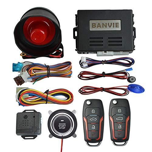 BANVIE ① Car Keyless Entry Security Alarm System + ② Remote Engine Start Starter + ③ Push to Start Stop Iginition Kit Button