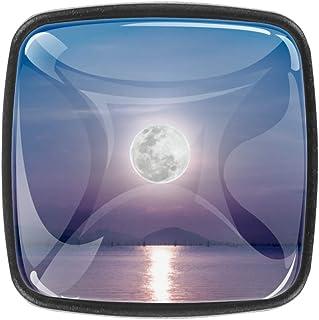 Moon in The Sky - Juego de 4 pomos cuadrados para aparador (4 unidades)