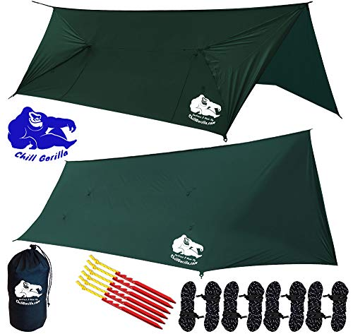 Chill Gorilla Fortress 2 Hammock Rain Fly Camping Tarp. SILNYLON. 4 Doors. Stakes, Ropes & Tensioners Included. Camping Gear & Accessories. Perfect Hammock Tent & All Season Tent Tarp