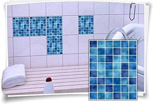 Fliesen-Aufkleber Fliesen-Bild Fliesen-Imitat Mosaik Blau Bad WC Deko Dekor Badezimmer Kachel Folie Digitaldruck, 12 Stück, 20x25cm
