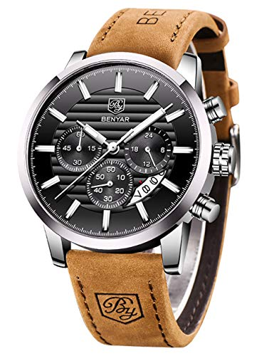 BENYAR Chronograph Waterproof Watches Business and Sport Design Black Leather Band Strap Wrist Watch for Men (Brown Silver Black B)