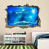 Tiburón peces submarino profundo acuario pegatina de pared Mural calcomanía habitación de niños70x100CM cartel fiesta de cumpleaños