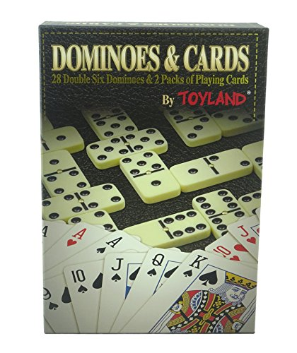 TOYLAND® Juego 2 en 1 - Domino Doble 6 y 2 Paquetes de Naipes - Juegos Familiares - Juegos de Mesa Clásicos