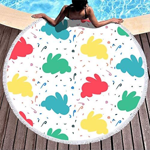 Lolyze Toalla de playa redonda grande, impermeable, toalla de playa, microfibra, toalla de playa, picnic, deporte, esterilla de yoga, manta para dos personas, color blanco, 150 cm