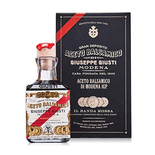 Giusti Giuseppe 5 Gold Medals 'Banda Rossa' Cubica - Balsamic Vinegar of Modena Italy (8.45 fl oz / 250ml)